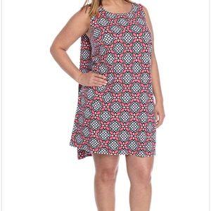 Crown & Ivy plus size knit dress coral/navy 1x